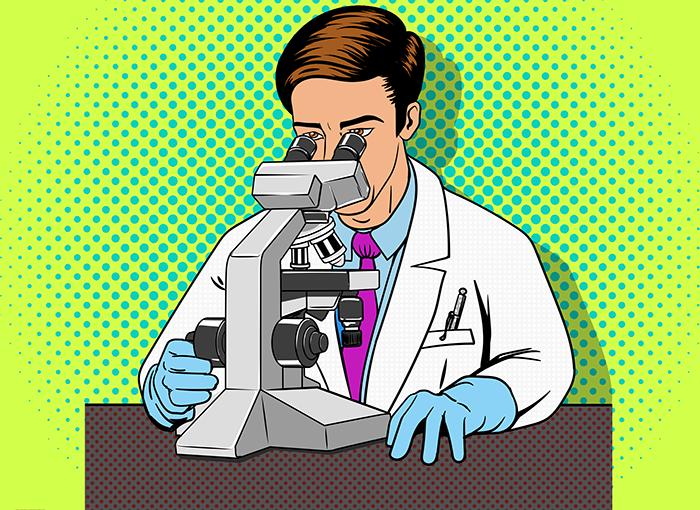 scientist studying slide under microscope, pop art