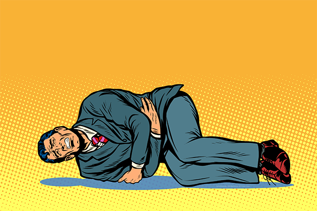 man in suit writhing on the ground, gripping his stomach, pop art illustration