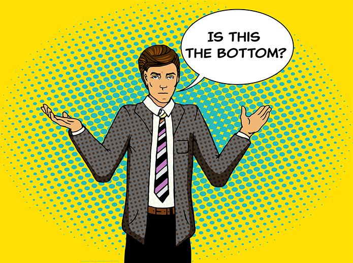 young man in a suit with a speech bubble asking if this is the bottom of the stock market drop, pop art