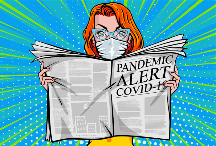 woman wearing a mask reading newspaper about covid 19 pandemic, pop art