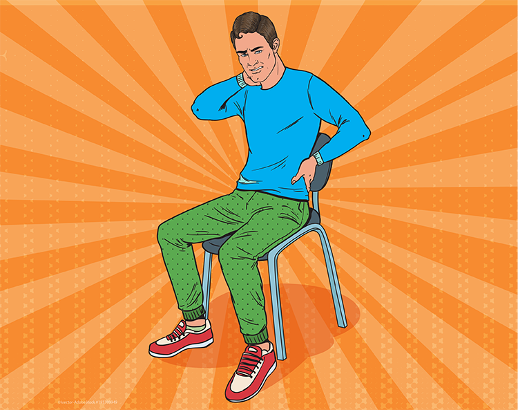young man sitting in chair, wincing in pain reaching for his neck and back, pop art