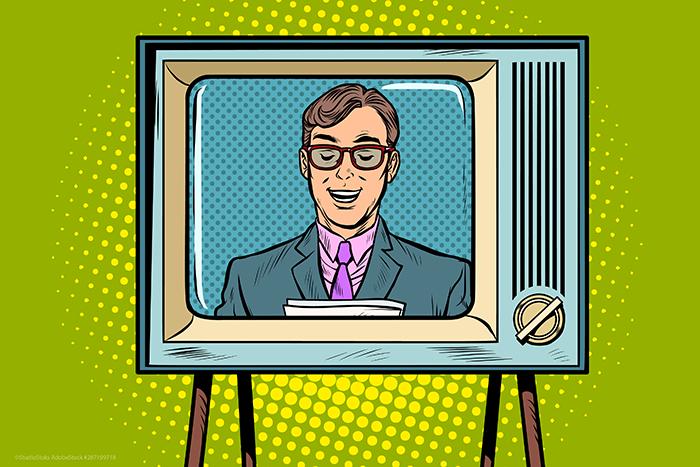 talking head news anchor on television, pop art