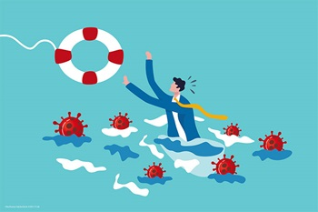 Illustration of man reaching for life save surrounded by coronavirus
