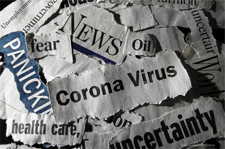 coronavirus or covid headline clippings from newspaper