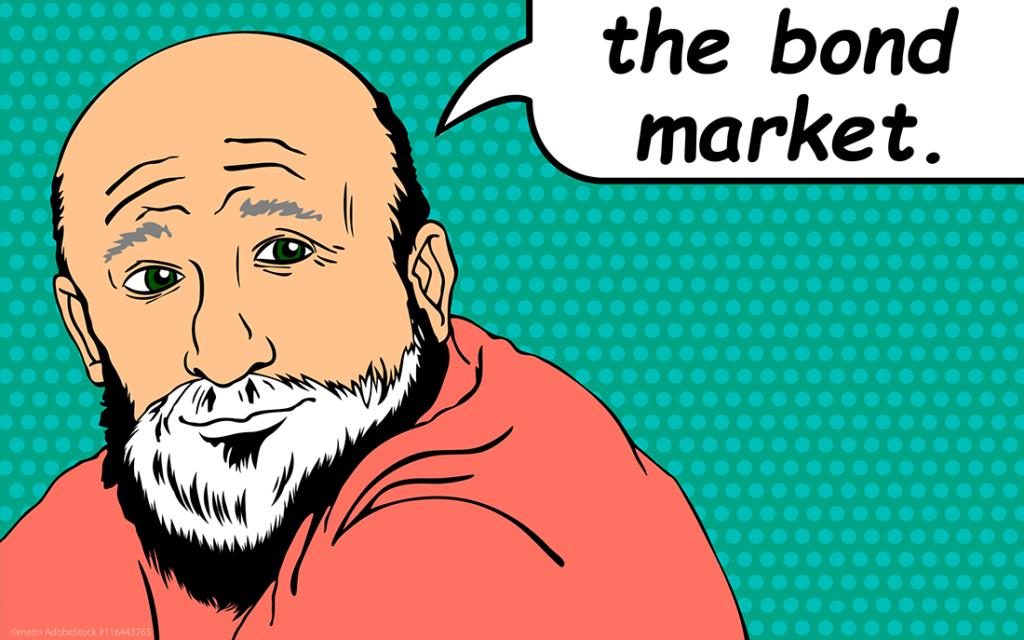 elderly man with a speech bubble referencing the bond market, pop art