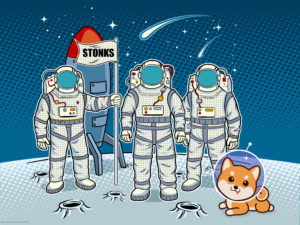astronauts on the moon with stonks flag and doge dog illustration