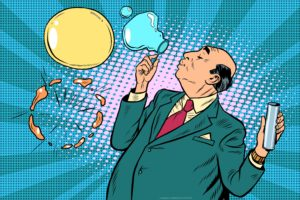 pop art illustration of an older man wearing a suit and blowing bubbles with one bursting