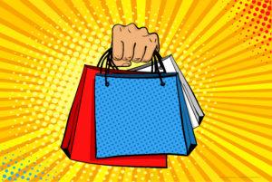 hand holding shopping bags, pop art illustration