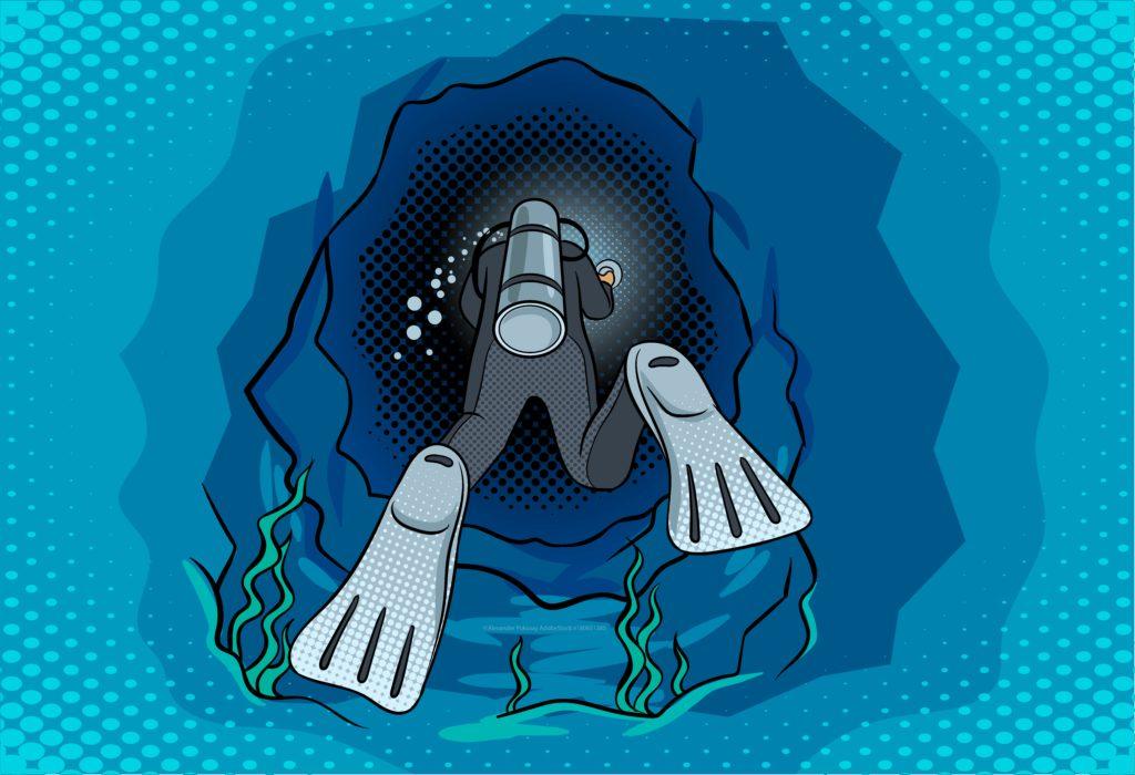 Scuba diver swimming into blue cave illustration