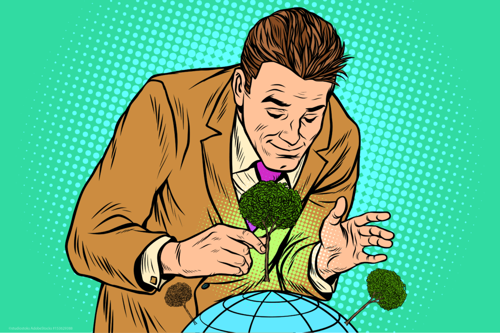 man planting trees illustration
