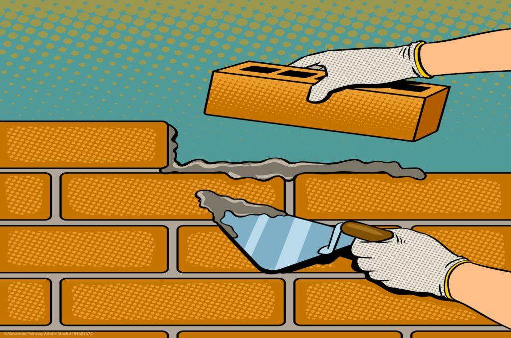 laying foundation, building brick wall illustration